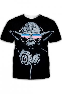 Funny Star Wars Yoda 3D Printed Round Neck Short Sleeve Black Tee