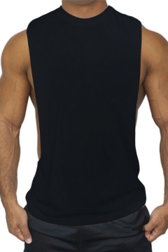 Mens Simple Plain Round Neck Sleeveless Sport Training Muscle Tank Top