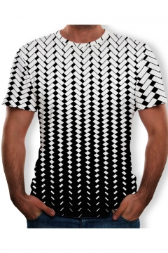 Summer Fashion Ombre Color Black and White Check Printed Round Neck Short Sleeve T-Shirt