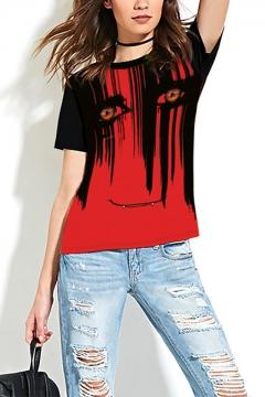 Halloween Horror Blood Face Eyes Print Red Short Sleeve T-Shirt