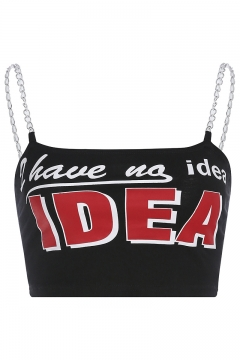 Girls Summer Cool Simple Letter IDEA Printed Chain Strap Cropped Black Cami