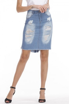 22d529073 Women's High Rise Distressed Ripped Fringed Hem Mini Blue Bodycon Denim  Skirt 42% off