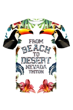 Summer New Stylish Letter FROM BEACH TO DESERT Bird Floral Pattern Round Neck Short Sleeve White T-Shirt