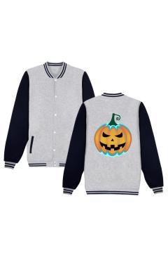 Unique Funny Halloween Pumpkin Printed Rib Stand Collar Long Sleeve Single Breasted Baseball Jacket