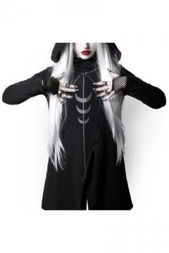 New Style Halloween Moon Print Oblique Zipper Asymmetric Hem Long Hooded Coat