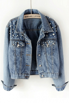 Girls Womens Flap Front Pocket Crop Trim Cropped Denim Collared Buttons Jackets