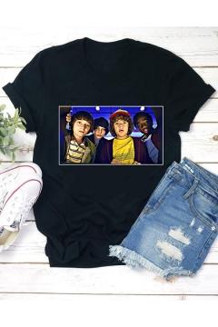 Hot Trendy Stranger Things Cartoon Figure Printed Round Neck Short Sleeve Black T-Shirt