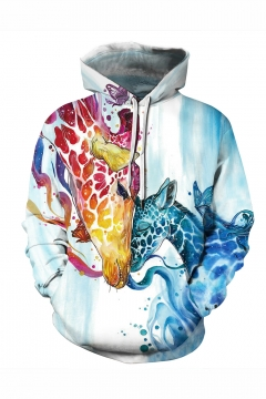 New Stylish Giraffe 3D Printed Long Sleeve Loose Fit Light Blue Drawstring Pullover Hoodie