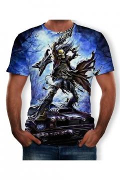 Summer Hot Fashion Skull Pattern Round Neck Short Sleeve Blue T-Shirt For Men