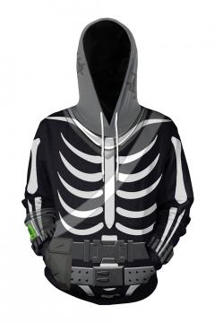 Halloween Cool Fashion Skeleton 3D Printed Black Long Sleeve Pullover Hoodie