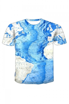 New Stylish 3D Map Print Round Neck Short Sleeve Basic Blue T-Shirt For Men