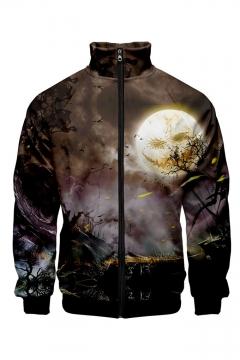 Men Fashionable Halloween Pattern Stand Collar Long Sleeve Zip Up Baseball Jacket