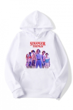 Hot Stylish Stranger Things Long Sleeve Letter Cartoon Printed Casual Loose Leisure Hoodie with Pocket