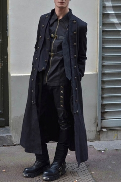 Men's Fashion Steampunk Vintage Jacket Victorian Medieval Costume Long Coat
