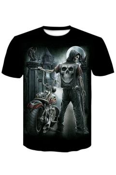 Summer New Stylish Skull Print Short Sleeve Round Neck Black T-Shirt For Men