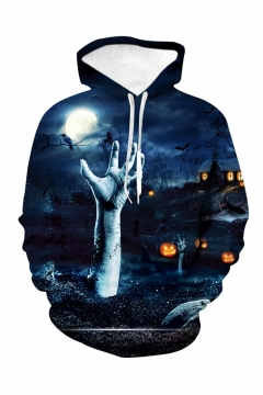 Halloween Popular Fashion Horror Hand Pumpkin 3D Printed Dark Blue Long Sleeve Loose Hoodie