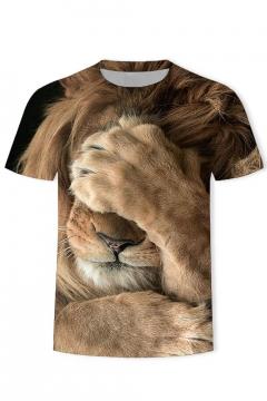 Summer New Stylish Short Sleeve Round Neck Lion Print Khaki T-Shirt