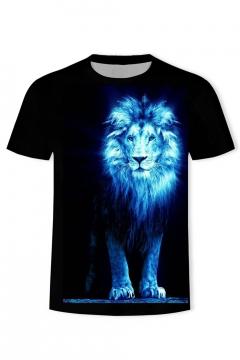 Men's New Stylish Lion Print Round Neck Short Sleeve T-Shirt in Black
