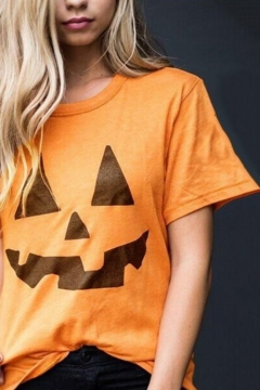 Women's New Stylish Halloween Pumpkin Print Short Sleeve Round Neck Cotton T-Shirt