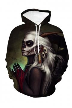 Halloween Hot Fashion Skull 3D Printed Drawstring Hooded Long Sleeve Loose Fit Dark Green Casual Hoodie