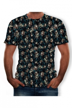 Mens Hot Fashion Short Sleeve Round Neck Skull Printed Blue T Shirt