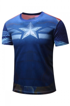 Summer Funny Star Comic Print Short Sleeve Round Neck Casual Blue T-Shirt