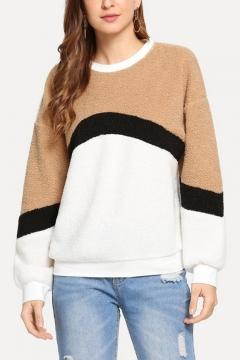 New Stylish Color Block Round Neck Long Sleeve Fluffy Teddy Sweatshirt