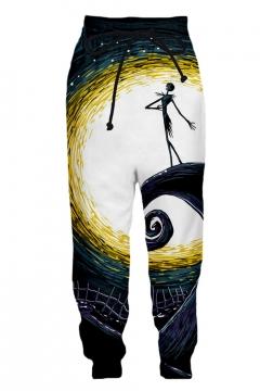 New Fashion Halloween Jack 3D Printed Drawstring Waist Casual Loose Sweatpants
