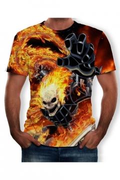 Summer Cool Skull Fire Print Short Sleeve Round Neck Relaxed T-Shirt For Men
