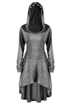 Halloween Series Plain Lace Up Long Sleeve Dip Hem Hoodie Tunic Cape Cosplay Costume