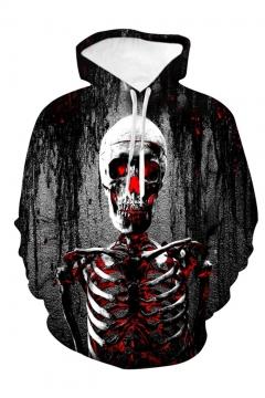 New Fashion Halloween Skull 3D Printed Black Loose Fit Long Sleeve Pullover Hoodie