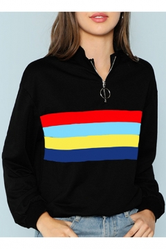 Stripe Zipper Front Stand Up Collar Color Block Long Sleeve Black Sweatshirt