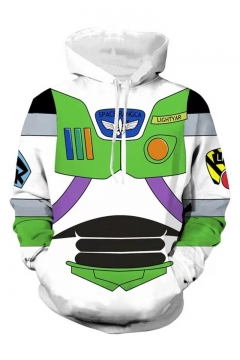 Hot Toy Story Buzz Lightyear 3D Printed Drawstring Hooded Long Sleeve Casual Loose Fit Cosplay Hoodie