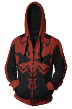 Star Wars Comic Cosplay Costume Long Sleeve Black and Red Zip Up Hoodie