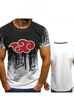 New Stylish Short Sleeve Round Neck Cloud Printed Unisex Basic T-Shirt
