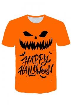 New Arrival Popular Letter HAPPY HALLOWEEN Pumpkin Pattern Round Neck Short Sleeve Orange Casual T-Shirt