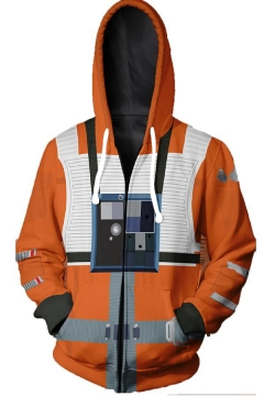 Star Wars Comic Cosplay Costume Camera Print Orange Zip Up Hoodie