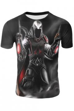 New Stylish Comic Pattern Round Neck Short Sleeve Black T-Shirt For Men