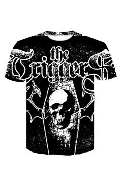 Guys Summer Funny Cool Letter Skull Print Short Sleeve Round Neck Relaxed Black T-Shirt