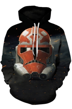 New Stylish Black Long Sleeve Star Wars Fire Metal Robot Printed Pullover Hoodie