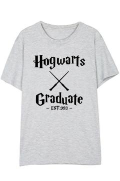 HOGWARTS GRADUATE EST Simple Letter Printed Round Neck Short Sleeve Cotton Loose T-Shirt