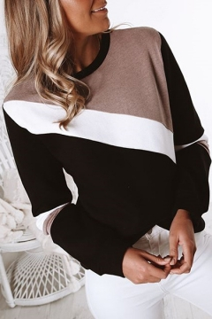 Womens Black Round Neck Long Sleeve Colorblock Pullover Sweatshirt