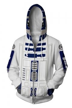 Star Wars Popular Comic Cosplay Costume White Long Sleeve Drawstring Zip Up Hoodie