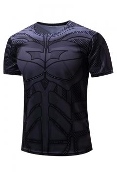 Summer Hot Sale Comic Print Short Sleeve Round Neck Black T-Shirt For Men