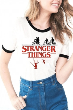Summer Hot Trendy Stranger Things Figure Print Contrast Trim Short Sleeve White T-Shirt