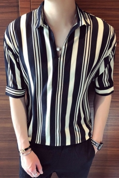 Men's Hot Fashion Striped Printed Half Sleeve Casual Black And White Loose Pullover Shirt