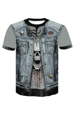 Summer Stylish 3D Skull Pattern Round Neck Short Sleeve Fake Two-Piece T-Shirt For Men