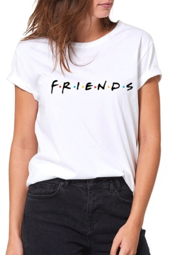 Hot Popular Friends Figure Printed Casual Loose Short Sleeve White T-Shirt