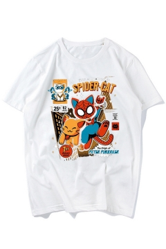 Funny Cartoon Spider Cat Printed Round Neck Short Sleeve White T-Shirt