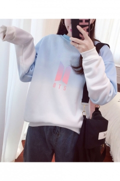 Hot Fashion BTS Kpop Logo Pattern Long Sleeve Round Neck Regular Ombre Sweatshir